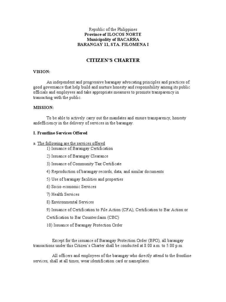 Citizen Charter Identity Document Complaint