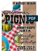 Summer Picnic Schedule