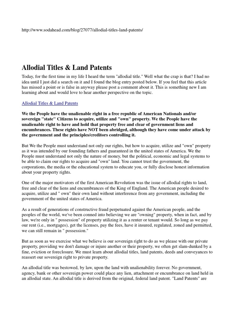 Allodial Titles & Land Patents | Title (Property) | Foreclosure