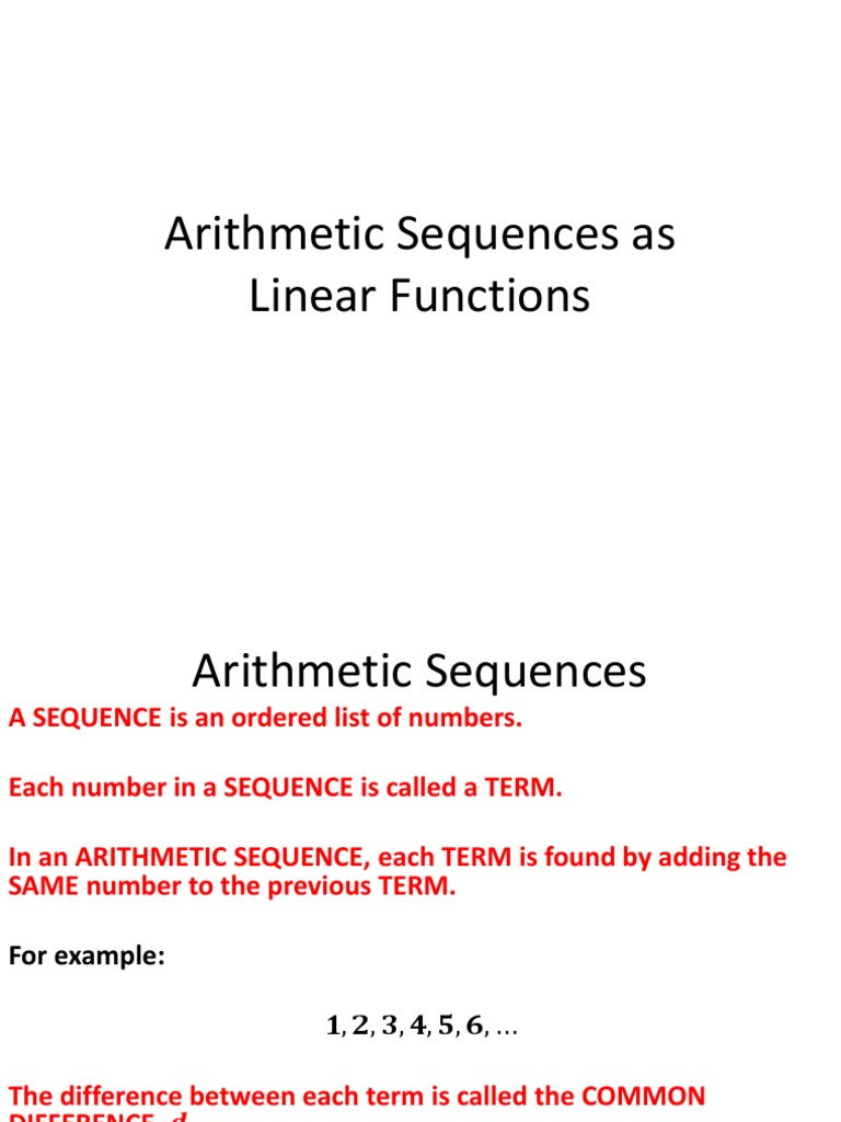 Arithmetic Sequences As Linear Functions | Sequence | Ellipsis
