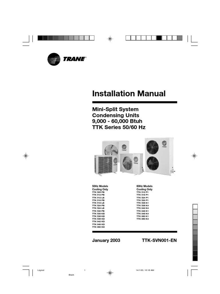 Trane TTK | Electrical Wiring | Insulator (Electricity)