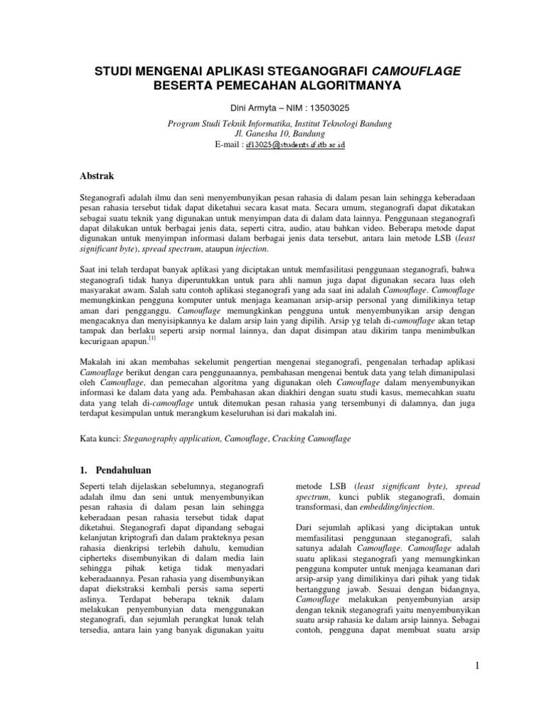 Studi Mengenai Aplikasi Steganografi Camouflage