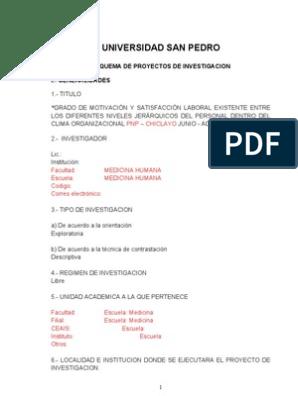 Proyecto De Tesis Motivacion Y Clima Organizacional