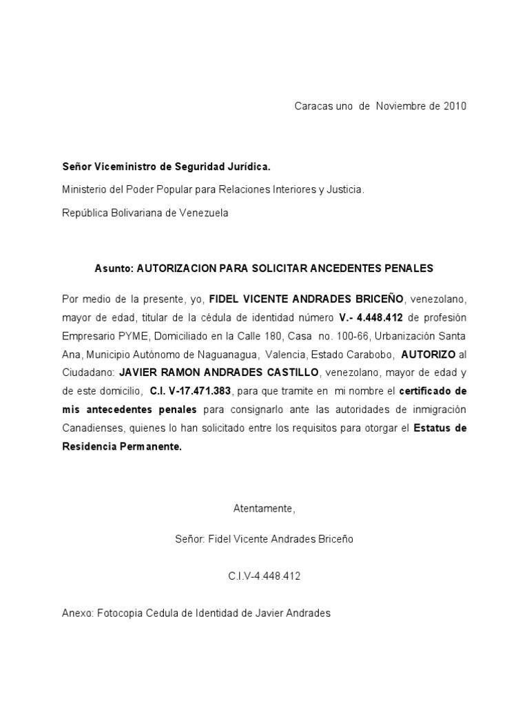 Carta de autorizacion para tramitar antecedentes penales for Ministerio de relaciones interiores y justicia