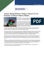 Rising Oil Prices Primary Threat to US Economy