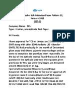Latest TCS Fresher Job Interview Paper Pattern 12