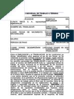 Contrato Individual de Trabajo Termino Indefinido