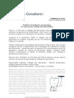 Communiqué Collège Bernardins- 09-09-08