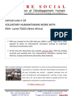 1 Opportunity of voluntary humanitarian work at PDH Lomé TOGO 4ème Edition Janvier 2011