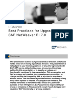 LCM208 Best Practices for Upgrading Tp SAP Netweaver BI 7.0