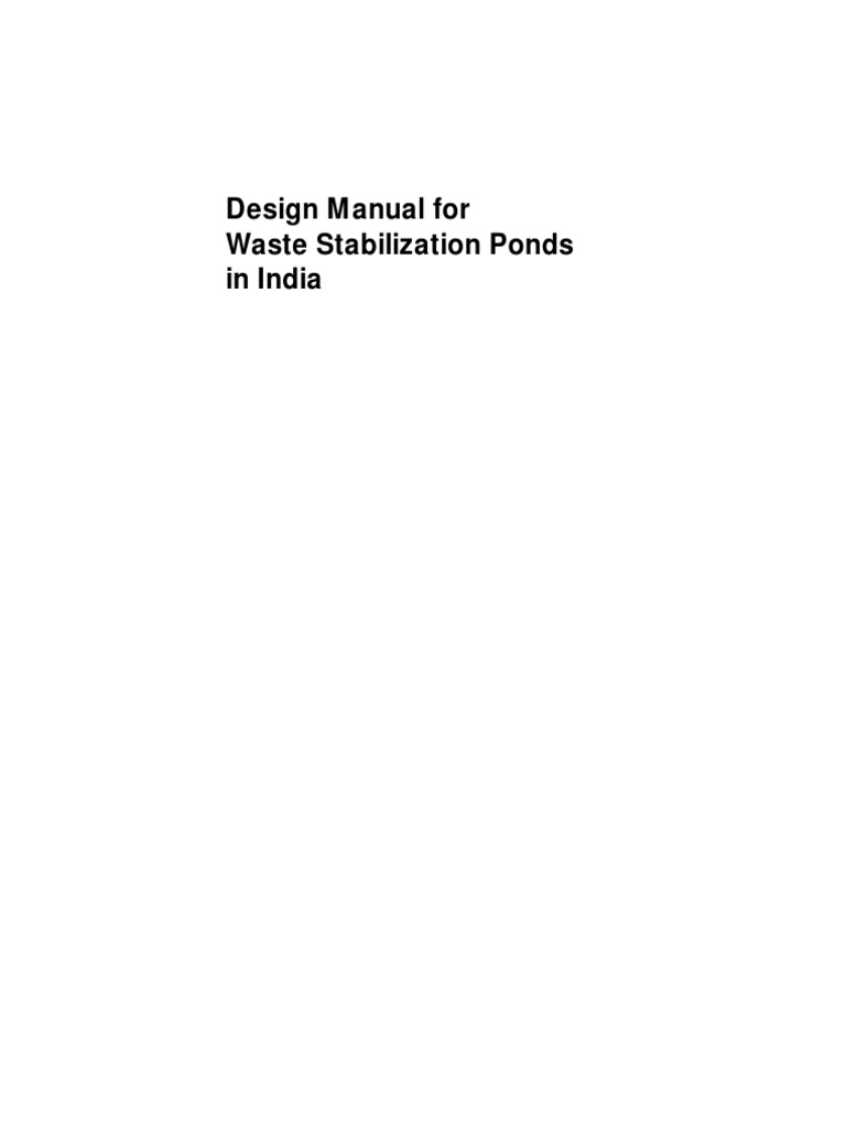 Design manual for waste stabilization ponds sewage for Design of stabilisation pond