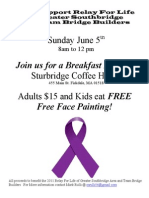 Relay For Life Benefit Breakfast at Sturbridge Coffee House