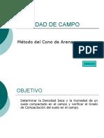 DENSIDAD DE CAMPO, MÉTODO DEL CONO DE ARENA