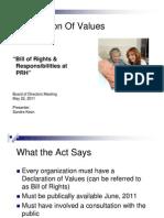 PRH board presentation on Bill of Rights