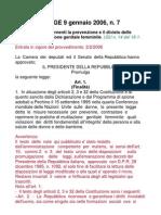 Legge 9.01.2009 n°7
