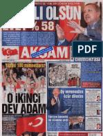 12 Eylül 2010 Referandumu Sonuçları - Gazete Manşetleri