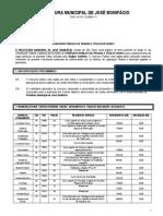 Edital Completo Concurso Publico n 012011 Jose Bonifacio
