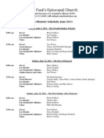 Lay Minister Schedule June 2011