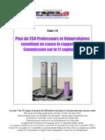Plus de 250 Professeurs & Universitaires remettent en cause le rapport de la Commission sur le 11 Septembre