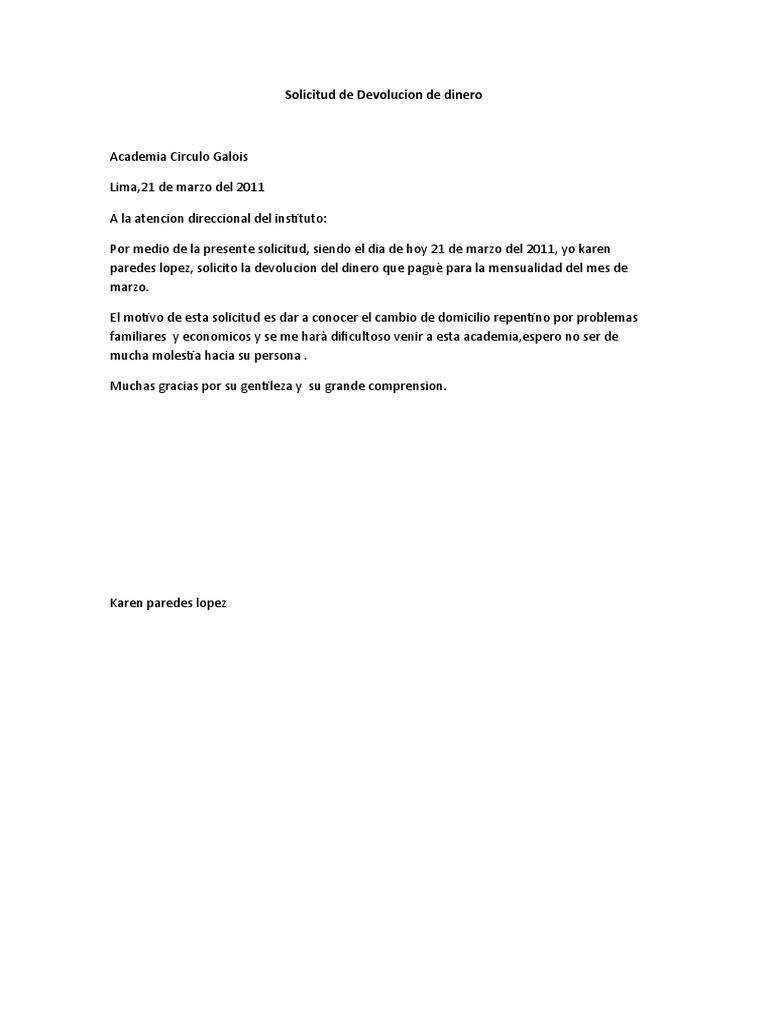 Modelo Carta Para Solicitar Reembolso Dinero Prestamos