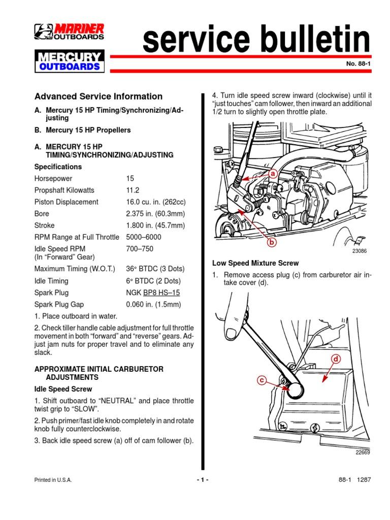 mercury 15 2t timing carburetor throttle Mercury Outboard Repair