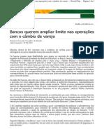 Bancos querem ampliar limite nas operações com o câmbio de varejo - Valor (01 06 2011)