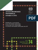 Lista de enfermedades profesionales (revisada en 2010). Identificación y reconocimiento de las enfermedades profesionales