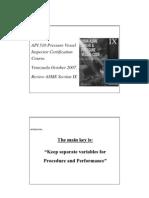 Asme Ix Presentation Summary Oct 2007