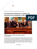 Presidential Proclamation - Lesbian, Gay, Bisexual, And Transgender Pride Month