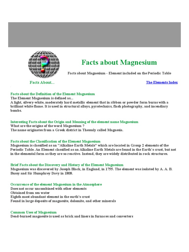 Facts about magnesium magnesium chemical elements gamestrikefo Gallery