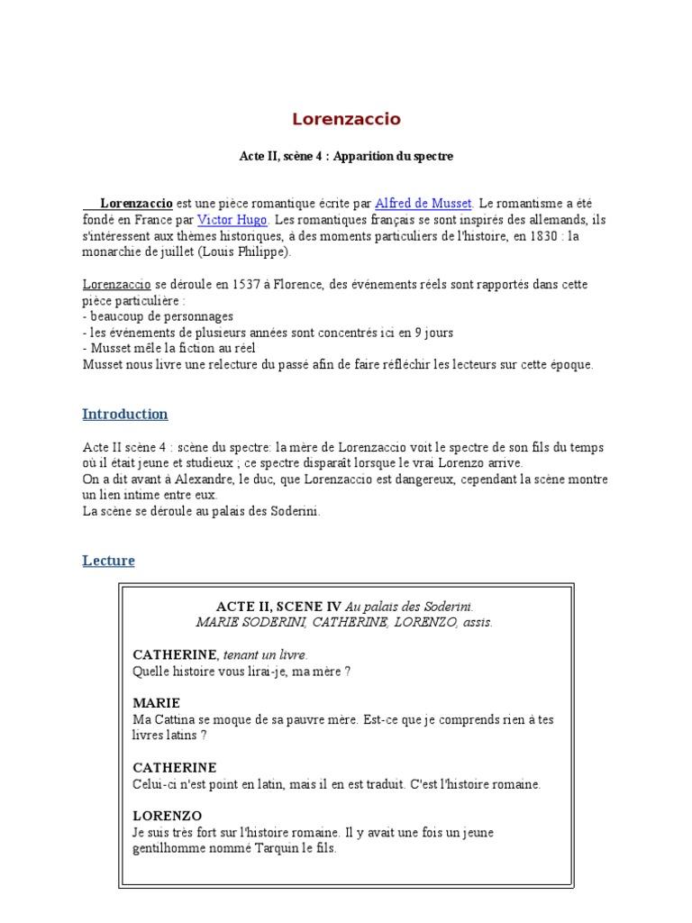 Resume de lorenzaccio resume with only some college