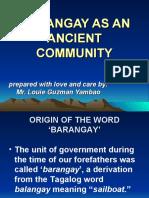 Barangay as an Ancient Community
