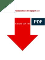 Romana - Subiectul I - Variante 001-100 - 2009