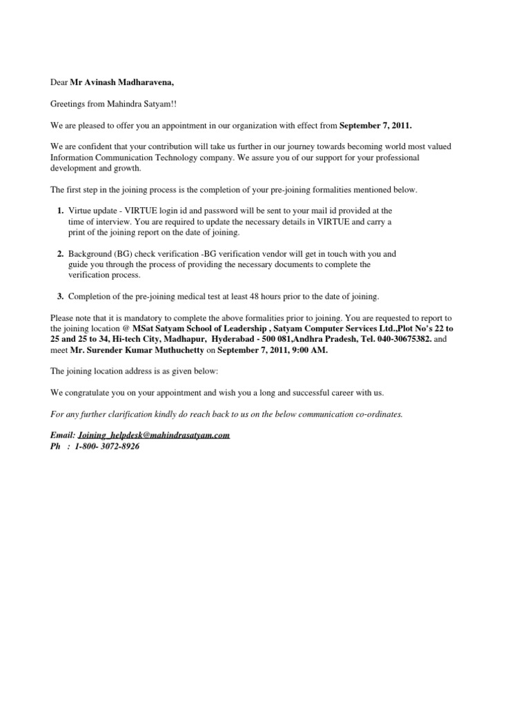 Mahindra Satyam Offer Letter   Life Insurance   Indemnity