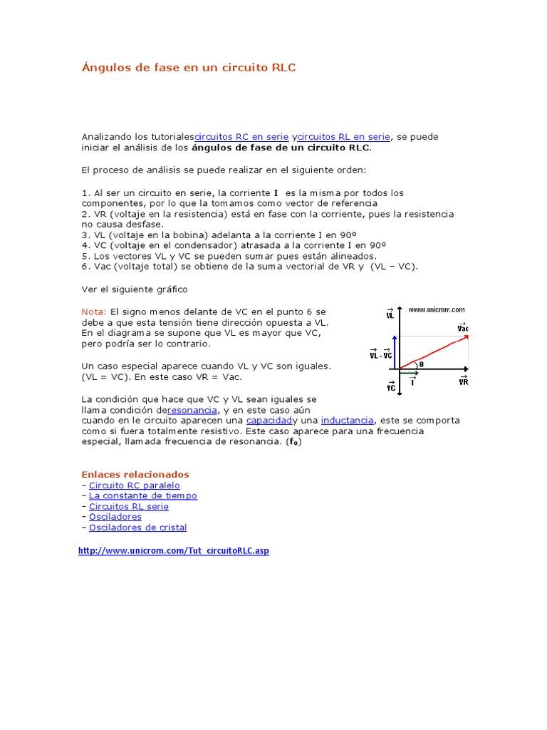 Voltaje Condensador Circuito Rlc Serie : Ángulos de fase en un circuito rlc