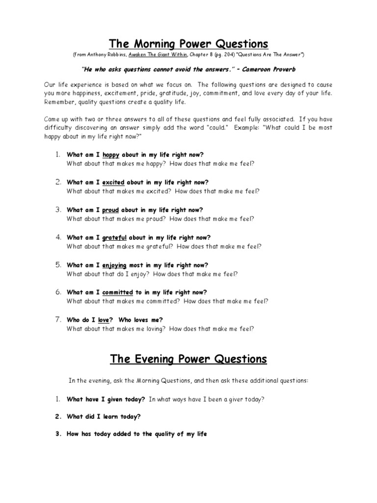 54215418 Anthony Robbins the Morning Power Questions