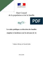 Les aides publiques en direction des familles Ampleur et incidences sur les niveaux de vie