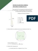 Solución del Examen del Teorema de Pitágoras y Semejanza-2ºC