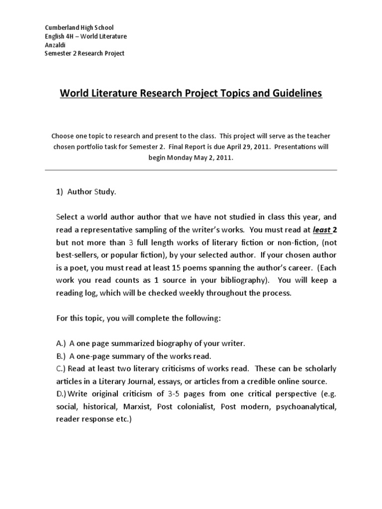 research projects for high school english