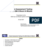 Hazard Assesment Testing for SM3 BlockIA Missile