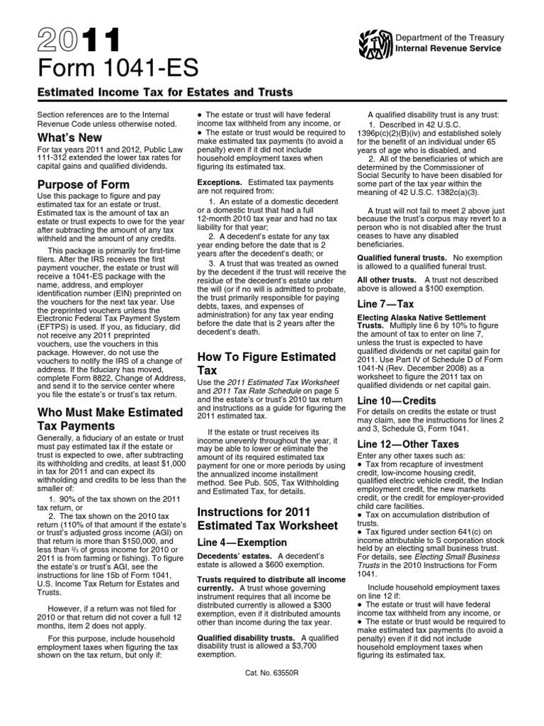 F1041es Withholding Tax Trust Law