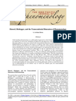 Husserl Heidegger and the Transcendental Dimension of Phenomenology