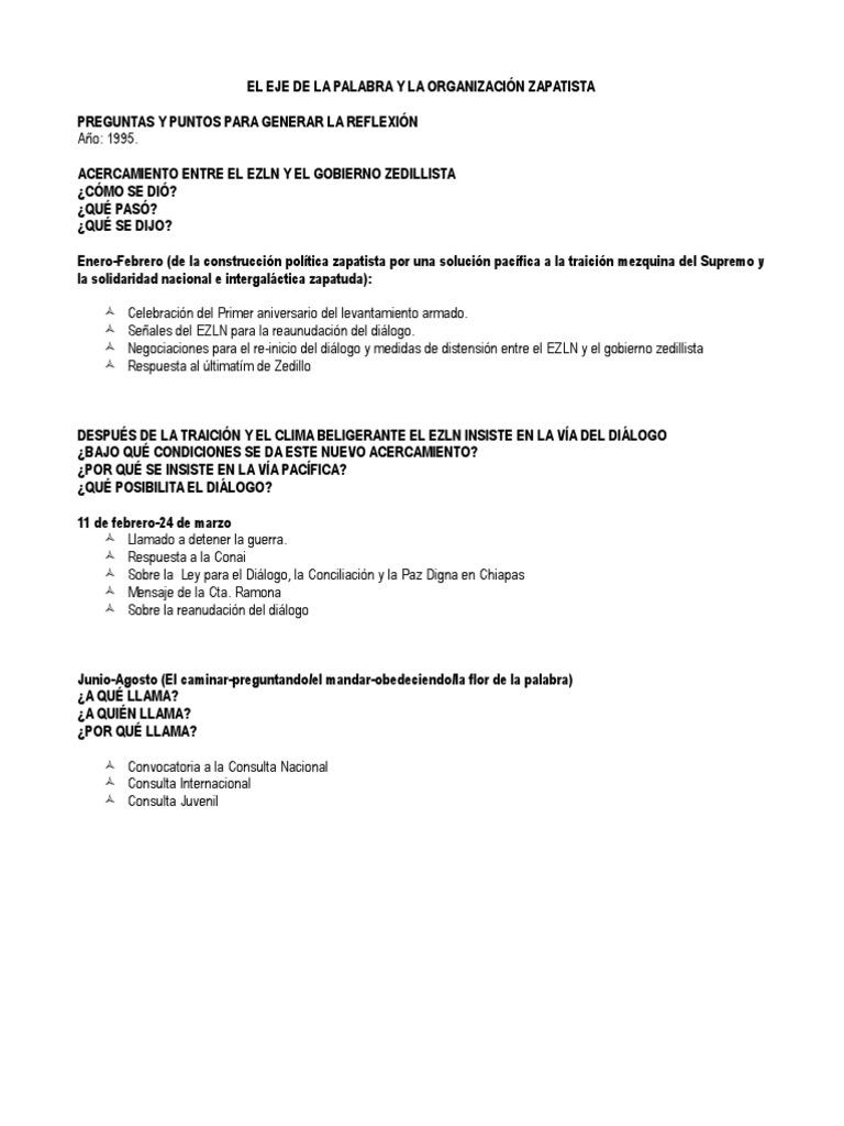 EL EJE DE LA PALABRA Y LA ORGANIZACIÓN ZAPATISTA ((TEXTO 1)