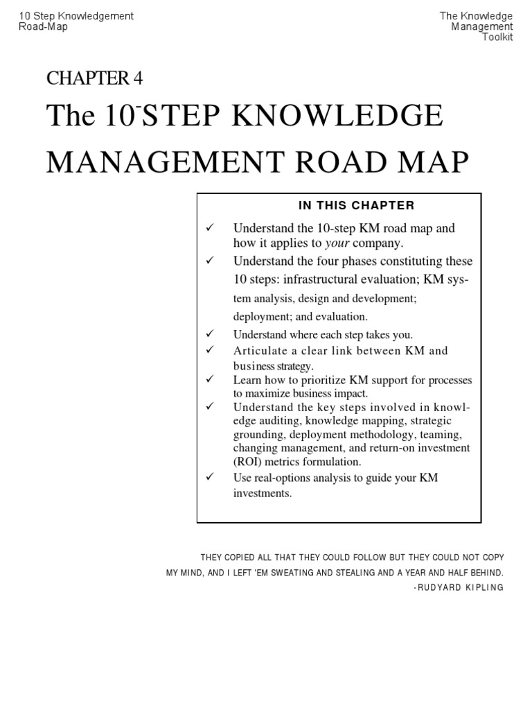 The 10 step km roadmap knowledge management strategic management malvernweather Image collections