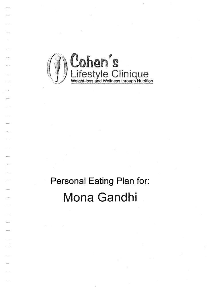 cohen s diet plan