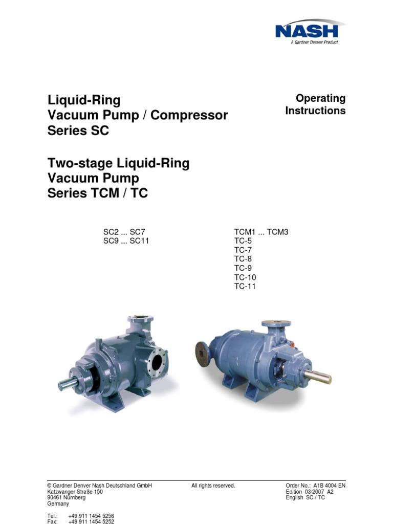 nash vacuum pump o m manual belt mechanical gear rh scribd com Vacuum Pump Exhaust Silencer Nash Vacuum Pump Operation