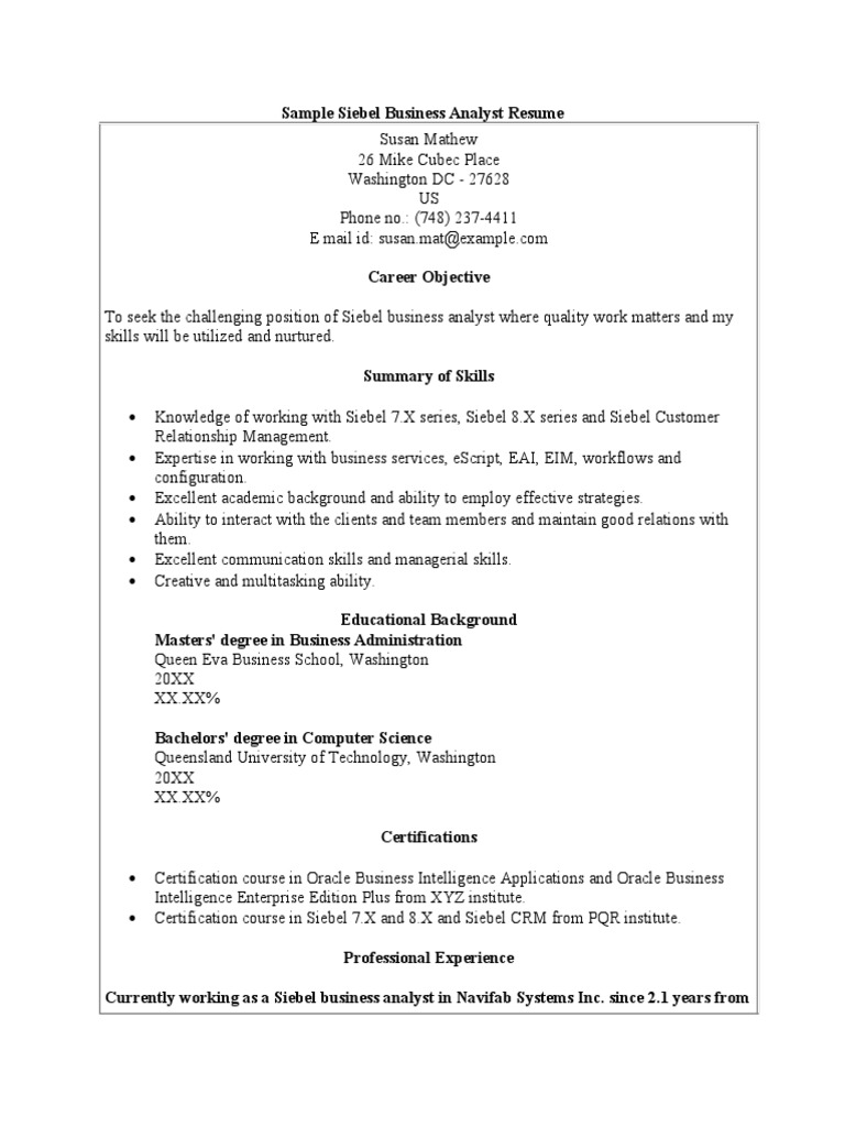 sample siebel business analyst resume