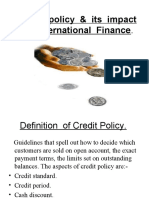 Credit Policy & Its Impact on International Finance
