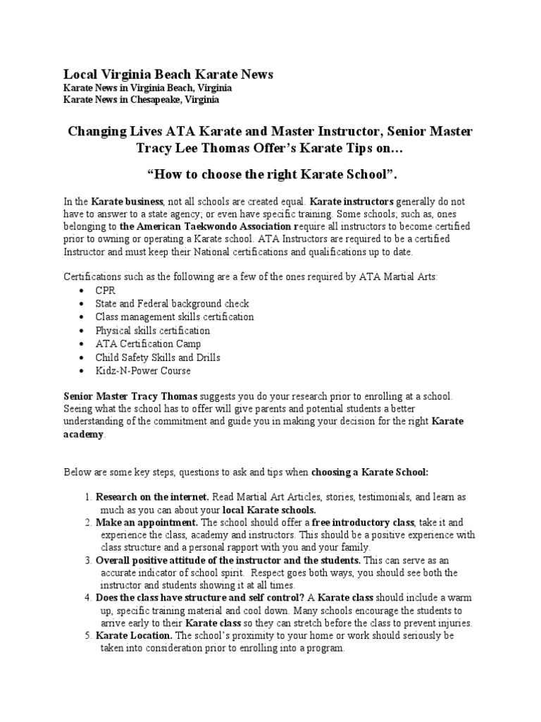 Local Karate News Choosing The Right Martial Arts School In Virginia