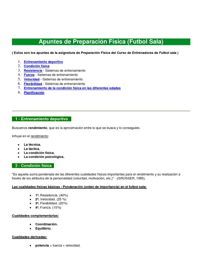 Fútbol Sala Preparación Física Contracción Muscular Medicina